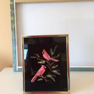 Kafka Foil Etching Glass Art Cardinals #4168